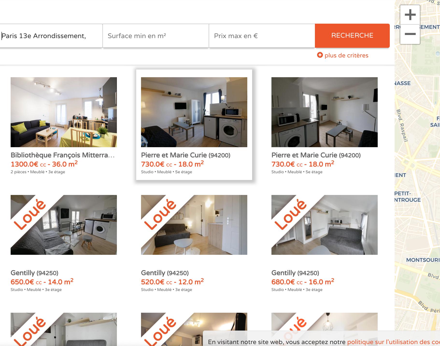 Flatlooker propose beaucoup d'appartements pour étudiants